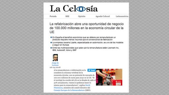 Pour la revue La Celosía, Lizarte est devenue une référence européenne en économie circulaire.
